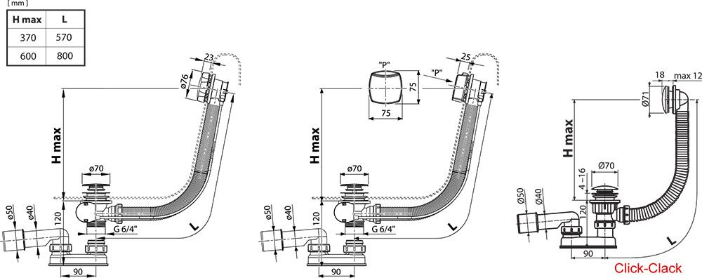 ensemble de vidange de baignoire avec remplissage par le. Black Bedroom Furniture Sets. Home Design Ideas
