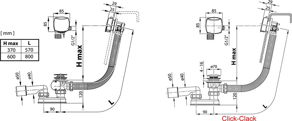 ensemble de vidange de baignoire avec remplissage par le trop plein ravak a s. Black Bedroom Furniture Sets. Home Design Ideas